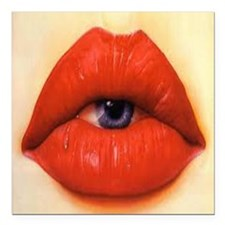 "Lip eye Square Car Magnet 3"" x 3"""