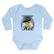 Hot Chick in Black Long Sleeve Infant Bodysuit