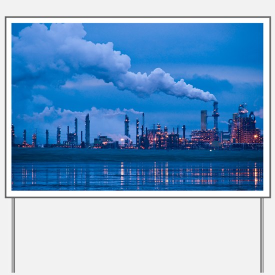 Oil refinery at dusk - Yard Sign