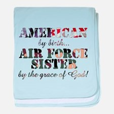 Air Force Sister by grace of God baby blanket