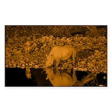 Black rhinoceros and lion - Decal