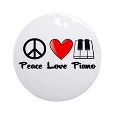 Peace, Love, Piano Ornament (Round)