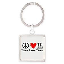 Peace, Love, Piano Square Keychain