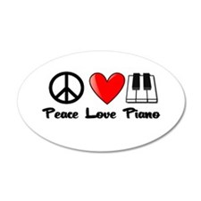 Peace, Love, Piano Wall Decal