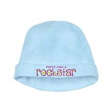 Potty Like A Rock Star Pink Open baby hat