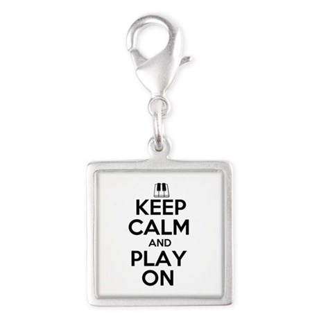 Keep Calm and Play On Piano Silver Square Charm