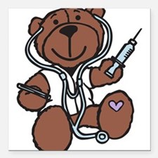 """Doctor Teddy Square Car Magnet 3"""" x 3"""""""