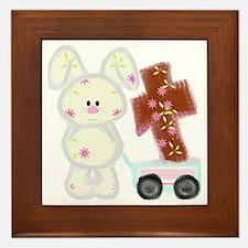 Bunny with a cross Framed Tile