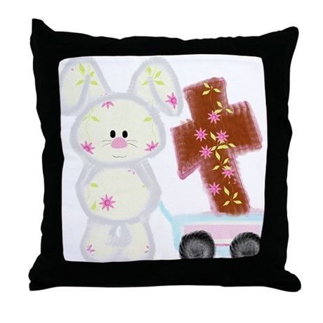 Bunny with a cross Throw Pillow