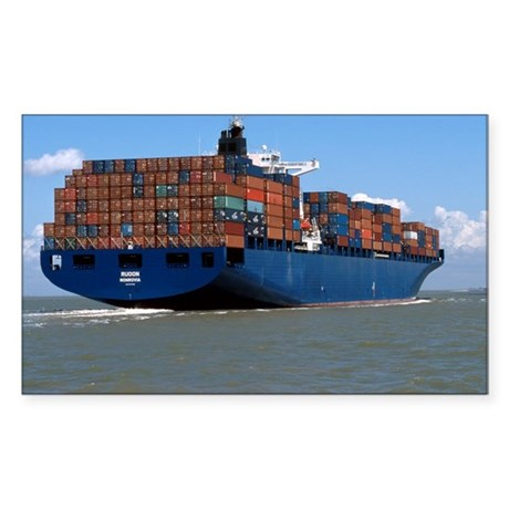 Container ship at sea - Sticker (Rectangle)