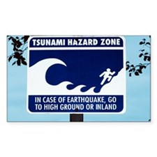 Tsunami warning sign - Decal