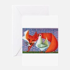 The Young Hen and The Old Fox Matchbox Label Greet