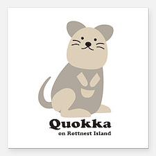"""Quokka v.2 Square Car Magnet 3"""" x 3"""""""
