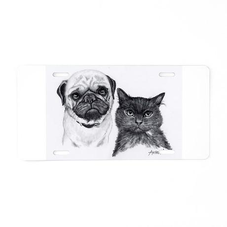 Pug and Cat Aluminum License Plate