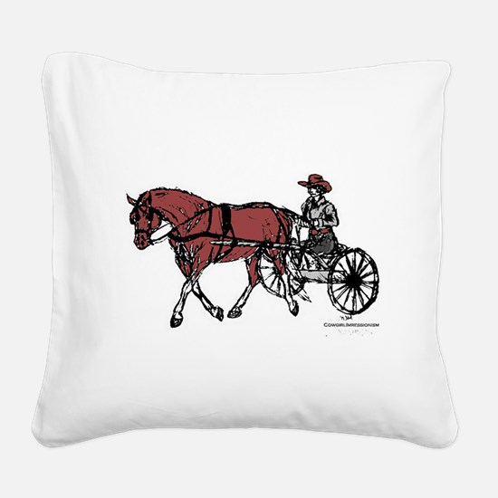 Harness Horse Square Canvas Pillow