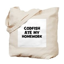 Codfish Ate My Homework Tote Bag