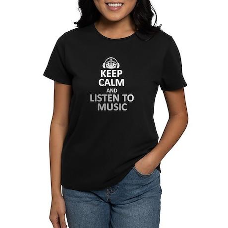 Keep Calm, Listen to Music Women's Dark T-Shirt
