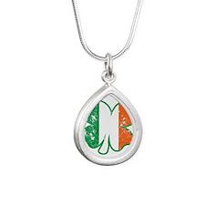 Clover Ireland Flag Silver Teardrop Necklace