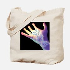 Hand and DNA molecule - Tote Bag