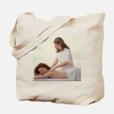 Masseuse massages the neck - Tote Bag