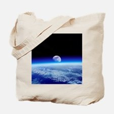 Moon rising over Earth's horizon - Tote Bag