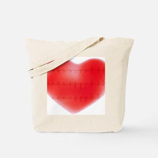 Heart and ECG - Tote Bag