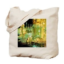 Oil refinery at night - Tote Bag