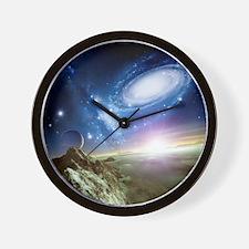 Colliding galaxies, artwork - Wall Clock