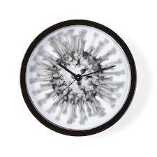 H1N1 flu virus particle, artwork - Wall Clock