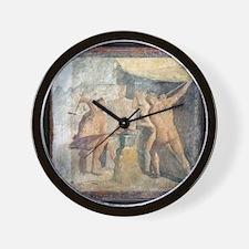 Forge of Hephaistos, Roman fresco - Wall Clock