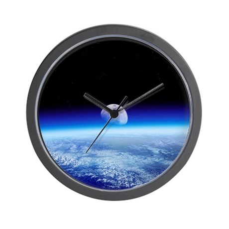 Moon rising over Earth's horizon - Wall Clock