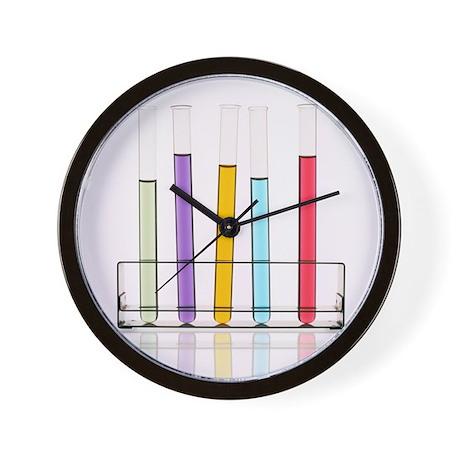Liquid In Test Tubes Wall Clock By Sciencephotos