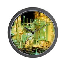 Oil refinery at night - Wall Clock