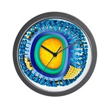 H1N1 flu virus particle, artwork - Wall Clock
