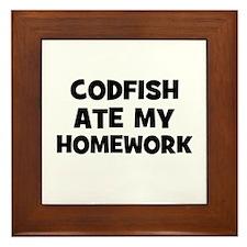 Codfish Ate My Homework Framed Tile