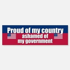ASHAMED OF MY GOVERNMENT Bumper Car Car Sticker