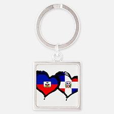 Haiti X Dominican Republic Square Keychain