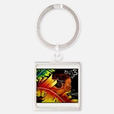 Fire Art by Nazaire Square Keychain