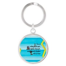 TOP Beach Volleyball Girl Round Keychain