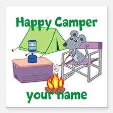 "Custom Happy Camper Mouse Square Car Magnet 3"" x 3"