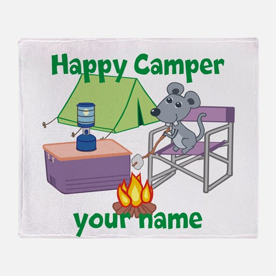 Custom Happy Camper Mouse Throw Blanket