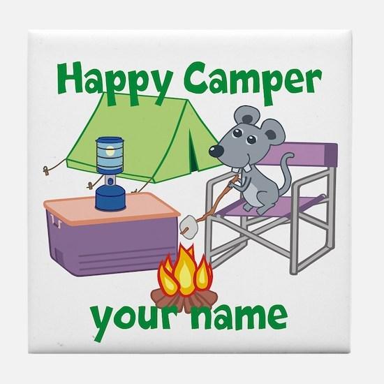 Custom Happy Camper Mouse Tile Coaster