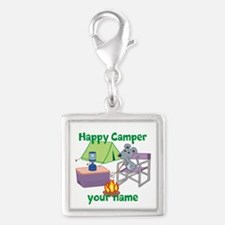 Custom Happy Camper Mouse Silver Square Charm