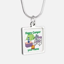 Custom Happy Camper Mouse Silver Square Necklace