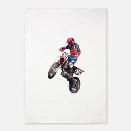 Red Dirt Bike 5'x7'Area Rug