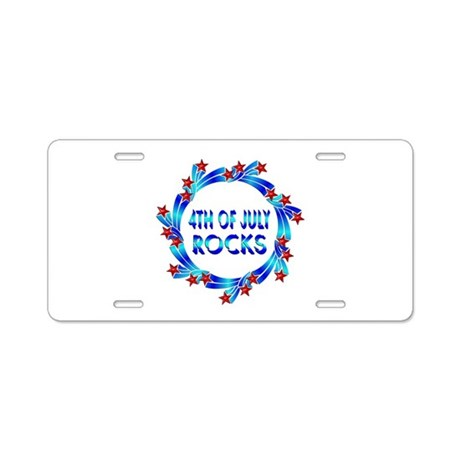 4th of July ROCKS Aluminum License Plate