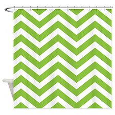 Green Chevron Stripes Shower Curtain