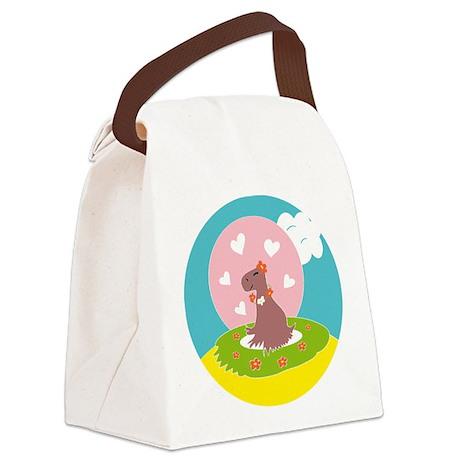 Capybara in Love Canvas Lunch Bag