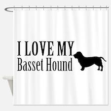I Love my Basset Hound Shower Curtain