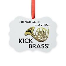 Horn Players Kick Brass Ornament